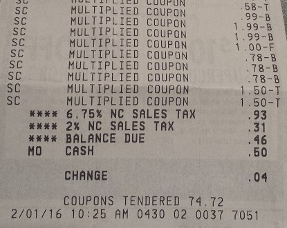 Harris Teeter Super Doubles receipt
